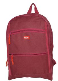 Lee Cooper Student Front Zip Compartments Backpack- Small -Maroon
