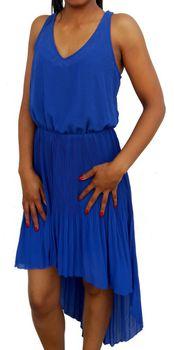 Kaleido Georgette Hi-Low Dress in Electric Blue