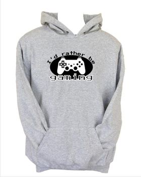JuiceBubble I'd Rather Be Gaming Men's Grey Hoodie