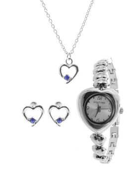 Digitime Ladies Bangle and Heart Jewellery Set in Blue