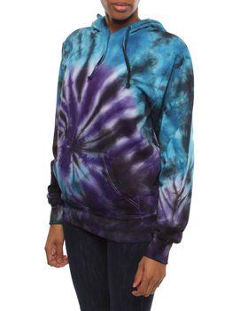 Original Hippies Unisex Tie-Dye Hooded Jacket - Purple Blue & Black Mix