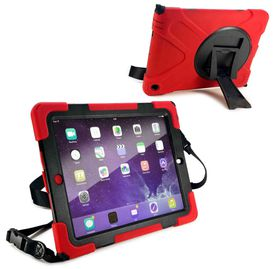 Tuff-Luv Rugged Armour Case with Shoulder Strap and stand for the Apple iPad 2/3 and 4 - Red