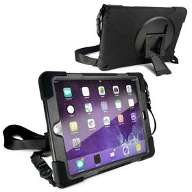 Tuff-Luv Rugged Armour Case with Shoulder Strap and stand for the Apple iPad Air 2 - Black