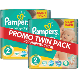 Pampers - New Baby 2 x 100 Nappies - Size 2 Twin Giant Pack