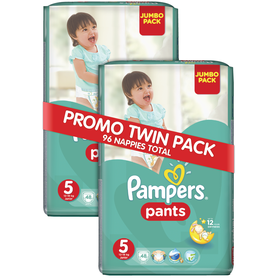 Pampers - Active Baby Pants 2 x 48 Nappies - Size 5 Twin Jumbo Pack