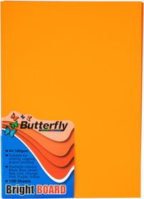 Butterfly A4 Bright Board 100s - Orange