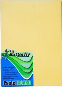 Butterfly A4 Pastel Board 100s - Yellow