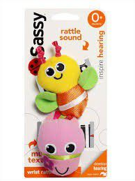 Sassy - Wrist Rattles - Pink and Yellow