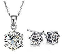 Round Cubic Zirconia Necklace and Earring Set