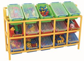 Gigo Classroom Furniture Tilt Storage Bin & Frame - 15 Bins
