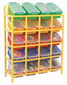 Gigo Classroom Furniture Tilt Storage Bin & Frame - 20 Bins
