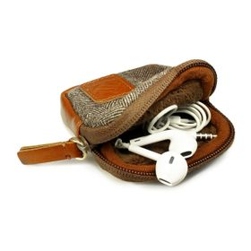 Tuff-Luv Herringbone Tweed Travel Case/Pouch for Earphones - Brown