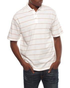 Patrick J Pin Striped Golfer - White
