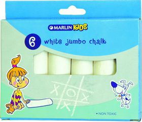 Marlin Kids White Jumbo Chalk - 6 Pieces