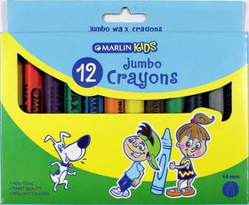 Marlin Kids 12 Jumbo Wax Crayons 14mm