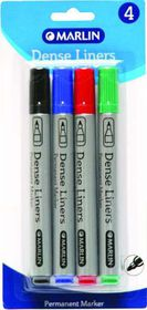 Marlin Dense Liners Permanent Markers - Blister of 4