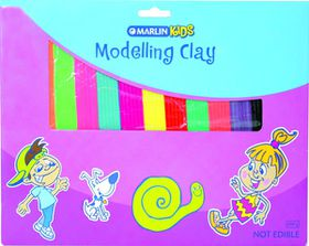 Marlin Kids Modelling Clay 200g 6 Neon & 6 Standard Colours