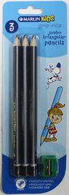 Marlin Kids 3 Jumbo Triangular Graphite Pencils & Sharpener