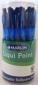 Marlin Liqui Point Retractable Ballpoint Pens - Blue (Tub of 25)