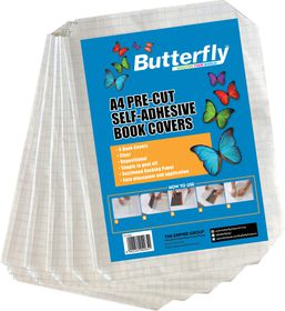 Butterfly A4 Pre-Cut Self-Adhesive Book Covers - 5 Pack
