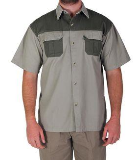 Wildway Two-Tone Men's Bush Shirt - Stone/Brown