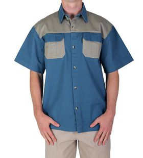 Wildway Two-Tone Men's Bush Shirt - Blue/Stone