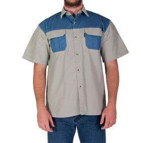 Wildway Two-Tone Men's Bush Shirt - Stone/Blue