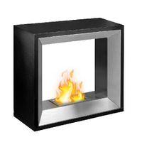 1green Freestanding Bio-Ethanol Fireplace - Black And Stainless Steel