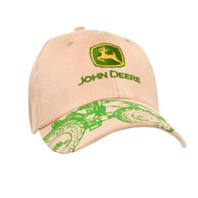 John Deere Stone Coloured Cap With Original Logo And Printed Green Tractor On Peak - One Size Fits All