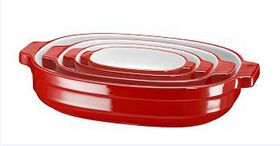 KitchenAid - 4 Piece Nesting Ceramic Bakeware Set - Red