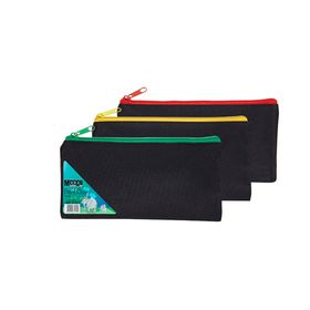 Meeco 16cm Nylon Pencil Bag - Black with Assorted Colour Zip