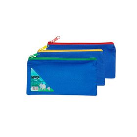 Meeco Nylon Pencil Bag - Blue with Assorted Colour Zip