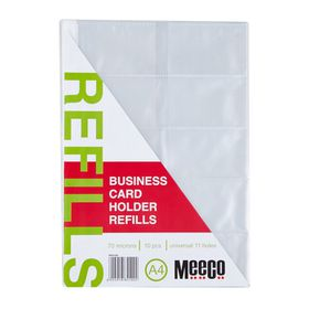 Meeco A4 Business Card Holder Refills - Pack of 10