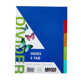 Meeco A4 5 Tab Bright Multi Colour Dividers