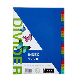Meeco A4 20 Tab (1-20) Bright Multi Colour Dividers