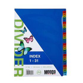 Meeco A4 31 Tab (1-31) Bright Multi Colour Dividers