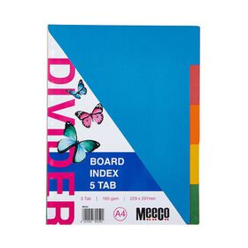 Meeco A4 5 Tab Bright Multi Colour Board Dividers