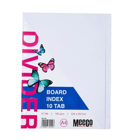 Meeco A4 10 Tab White Board Dividers