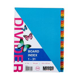 Meeco A4 31 Tab (1-31) Bright Multi Colour Board Dividers