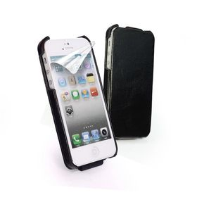 Tuff-Luv Vintage Genuine Leather Flip Case for iPhone 5/5S/SE - Black