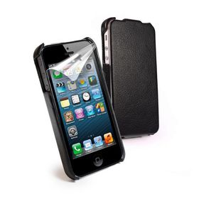 Tuff-Luv Moulded Shell Flip Case - Includes Screen Protector for iPhone 5/5S/SE -Black
