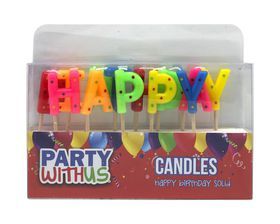 Party with Us Happy Birthday Candle