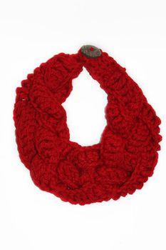 Plaited Crochet Scarf - Red