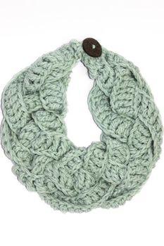 Plaited Crochet Scarf - Mint