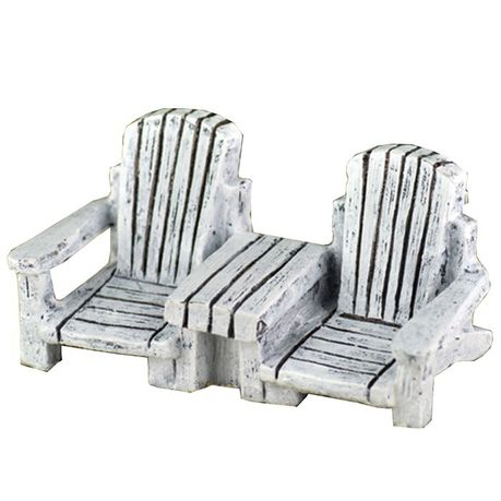 Pleasant Miniature Double Adirondack Chair With Table In Antique White Bralicious Painted Fabric Chair Ideas Braliciousco
