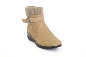 Paradise Short Boot with Knit Collar in Taupe