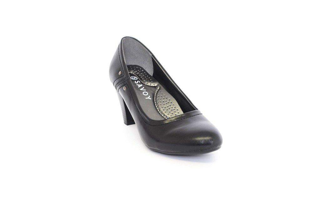Savoy Mid Heel Comfort Court Shoe In Black