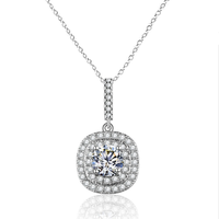 Yeoman Drop Style Round Cut Simulated Diamond Pendant Necklace