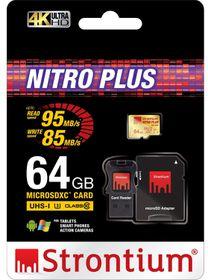 Strontium 64GB Nitro Plus Micro SDHC UHS-1 (U3) Card with Adaptor