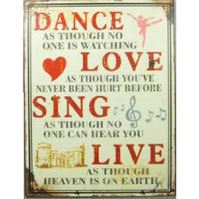 Pamper Hamper - Dance - Love - Sing - Live Metal Plaque